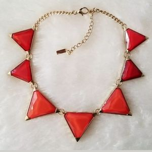 MIKA RED GOLD GEOMETRIC LUCITE STATEMENT NECKLACE